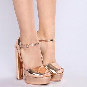 FashionNova Rose Gold Platforms